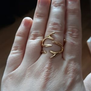 Gold Plated Bronze Antler Ring